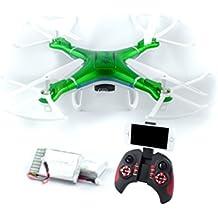 [Patrocinado] Drone cuadricóptero con cámara, luces LED brillantes, con estabilidad de vuelo, vuelos largos de 30 minutos con batería extra, de QCopter