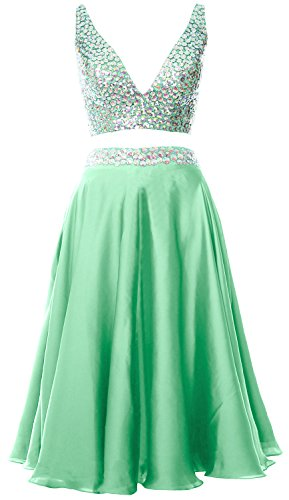 MACloth Women 2 Piece Short Prom Dress 2017 Straps V Neck Cocktail Formal Gown Menta