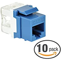 Mediabridge Cat6 Keystone Jack (Blue) - Punch-Down RJ45 Insert for Keystone Wall Plate - 10 Pack (Part# 51J-C6-BLU-10PK )