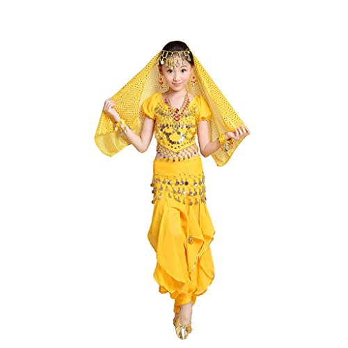 Pilot-trade Girl Belly Dance Halloween Costumes Professional Indian Dance Wear Yellow