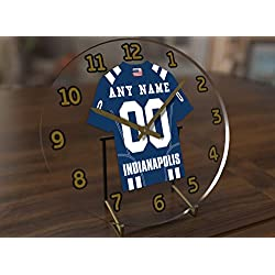 Football Team Desktop/Shelf Clocks - All N F L Colors Available - Size 7 X 7 X 2 Any Name Any Number Any Team !! (I N D Edition)