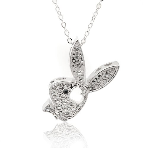 (Spinningdaisy Silver Plated Mounted Play Bunny Boy with Heart Necklace)