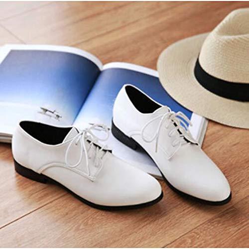 de PU Cerrada Rojo Poliuretano Primavera de Zapatillas Deporte ZHZNVX Plano Verano con Negro Zapatos tacón Mujer Punta White Blanco Itx6TwxqY