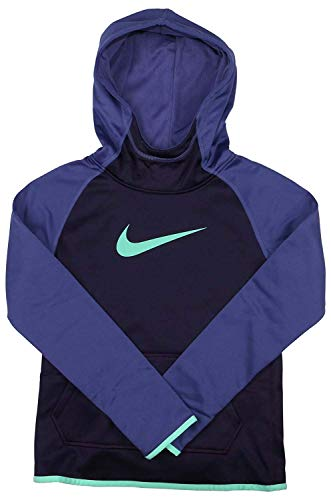 Nike Girl's Dri-Fit Thermal Pullover Hooded Sweatshirt Purple Teal 912987 524 (XL 18)