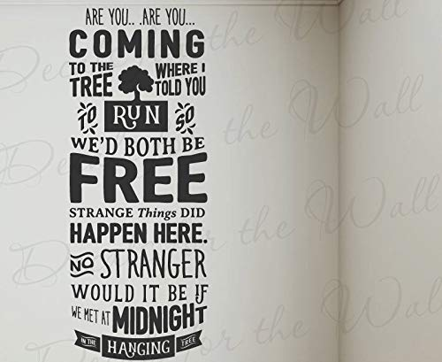 are You Coming Run Free Strange Things Midnight Hanging Tree Hunger Games Mocking Jay Jennifer Lawrence Movie Song Vinyl Art Wall Decal