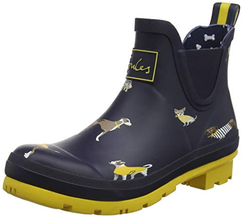 Joules Women's Wellibob Short Height Printed Rain Boots Navy Harbour Dogs Size 8