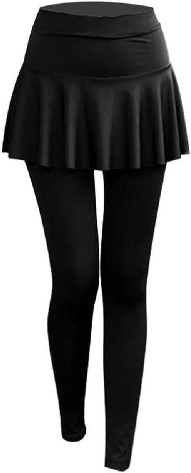Señoras Niñas 2 En 1 Pantalones De Yoga con Falda Pantalones ...