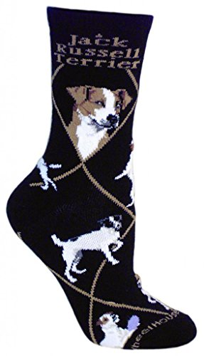 Jack Russell Terrier Dog Black Cotton Ladies Socks Shoe Size 9-11 Adult