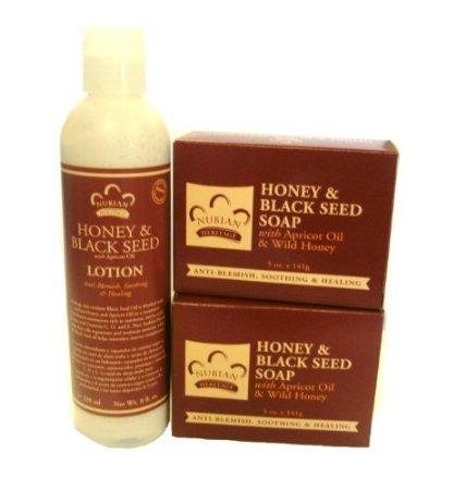 Nubian Heritage Honey & Black Seed Soap and 13 oz Lotion Set