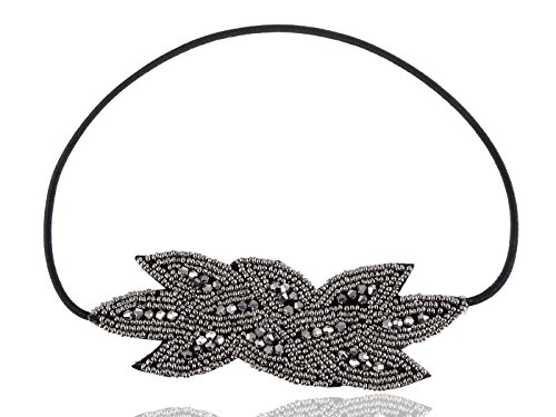 Alilang Womens Black Gunmetal Grey Beaded Floral Leaf Bunch Retro Flapper Elastic Hair Headband - 1920s Great Gatsby Style!