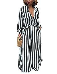 Zamtapary Women 2 Pieces Set Stripe Long Button Down Shirt Wide Leg Pants Sets