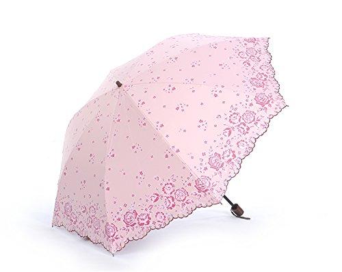 Honeystore Regenschirm 2-Falten Taschenschirm Blumen Reisen Sonnnenschirm Rosa