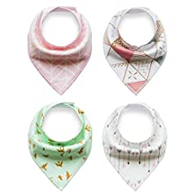 Baby Bandana Drool and Dribble Bibs for Boys and for Girls - (Set of 4, Gift Set) (Variegated 4)