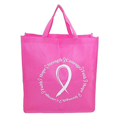 CTM Women's Pink Ribbon Breast Cancer Awareness Durable Tote Bag, Pink