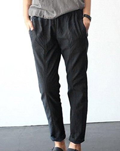 In Pantaloni Occasionale Donna Vita Nero Con Grossa Elastico Taglia tZaqtwWR1