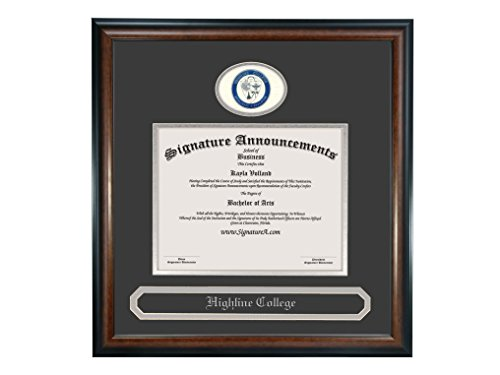 "Signature Announcements Highline-College Undergraduate, Graduate Sculpted Foil Seal & Name Diploma Frame, 16"" x 16"", Matte Mahogany"