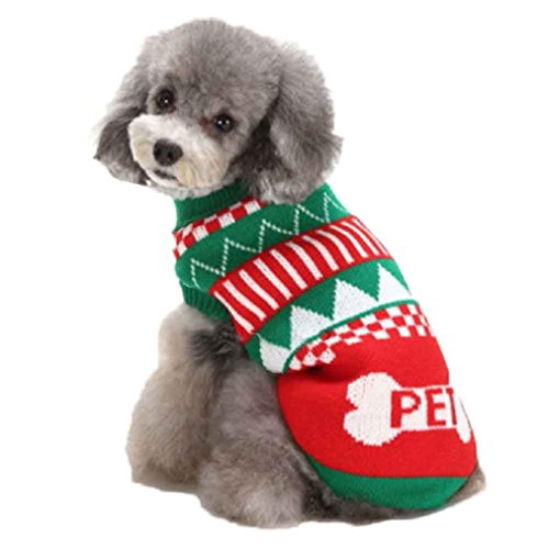 [DEESEE(TM) Christmas Dog Puppy Dog Christmas Interlock Shirt Apparel Warm Clothes (XXL)] (Pugs Costumes)