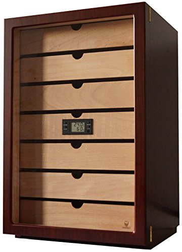 GERMANUS Cigar Humidor Classic Desk for Approx Brown with Hygrometer and Humidifier and GERMANUS Manual 50 Cigars