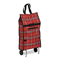 Honey-Can-Do CRT-02224 Fold-Up Fabric Rolling Bag Cart with Handles, Holds up to 40-Pounds, Plaid, 12.5L x 5.12W x 24.75H