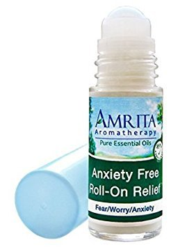 (Amrita Aromatherapy: Anxiety Free Roll-On Relief (Natural Anxiety Reducer) with Essential Oils of Ylang Ylang Extra, Myrrh and Bergamot; Grapefruit Seed Extract and Olive Leaf Extract in a Certified Organic Lotion Base - Roll On Applicator Style (Size: 30ml))