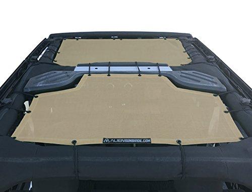 (ALIEN SUNSHADE Jeep Wrangler Sunshade 2-Piece Front & Rear Mesh Jeep Tops - Jeep JKU Sunshade 4-Door JKU Top (2007-2018) (Tan))