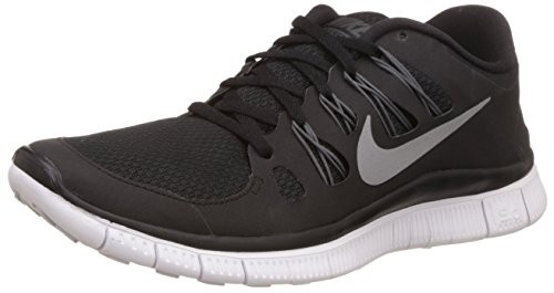 Nike Womens Free 5.0+ Running Shoes Black/Metallic Silver/Dark Grey 580591-002 Size 8