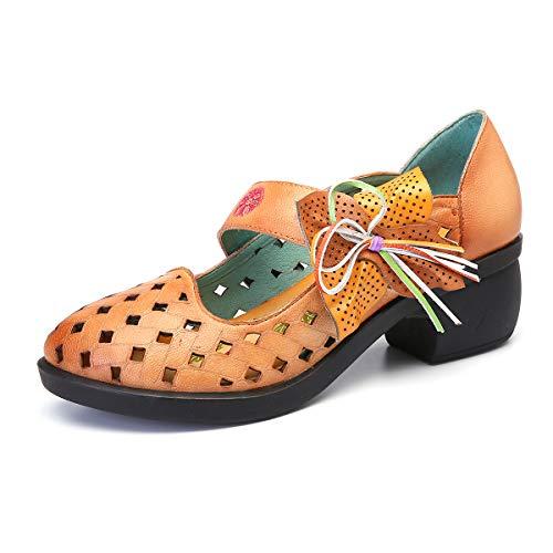 Seraph Bloc Soft Bas Rond Coupe Talons Sandales Janes Toe Dcontractes Chaussures Orange Leather Mary Femmes r8ETqr1