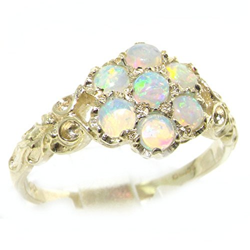 925 Sterling Silver Natural Opal Womens Cluster Ring - Size - Ring Color Stone Cluster Multi