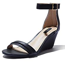 DailyShoes Wedge Sandals Wedge Heeled for Women Mid Sandals Ankle Strap Open Toe Buckle Summer Shoes Fashion High Heels Straps Toed Strappy Sandal Black,pu,8.5