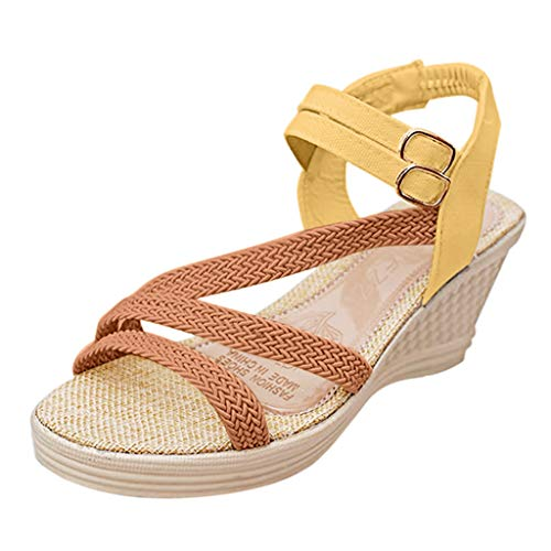 Sunhusing Women's Handmade-Knitted High Heel Wedges Sandals with A Double Buckle Roman Sandals Brown