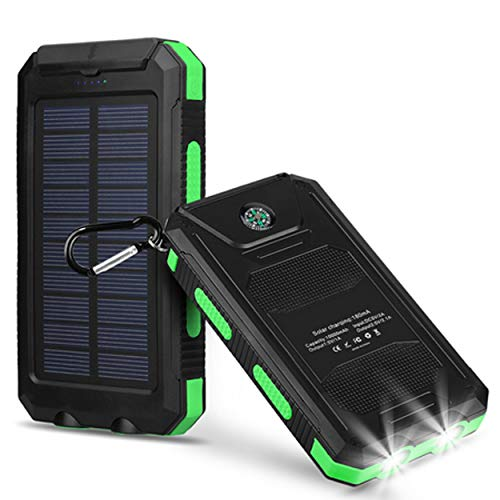 Capacity Light Green - Bysionics Solar Phone Charger,Portable Charger Solar Charger Power Bank 12000mah External Backup Battery Pack Dual USB with 2LED Light Carabiner and Compass for Your Smartphones and More (Green)