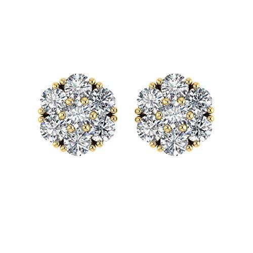 Delight femmes de diamant 14K Boucles d'oreille Clous en forme de fleur (si1-si2, 11/2carat)