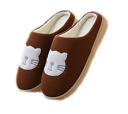 Bedroom Unisex Plush Printed Lined Cat shoes beginning Shoes House Coffee Cute Fleece Comfort Auspicious 56Pqtn