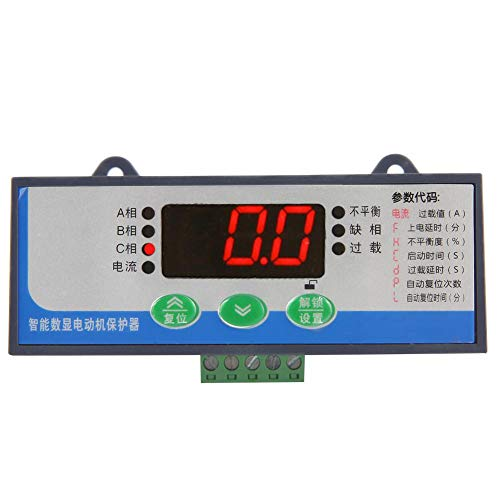 380V AC 50/60Hz 3-Phase Motor Protector, Digital Electronic Motor Circuit Protector, 2-99A Phase Loss Protector Overload Protection ()