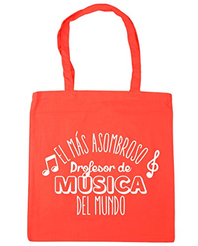 Hippowarehouse The Most Amazing World Music Professor Beach Bag With Handles Shopping Bag 42cm X 38cm For Gym Coral 10 Liters Capacity
