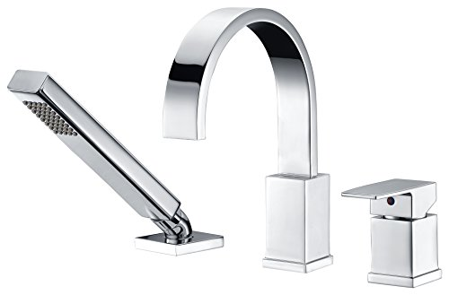 ANZZI Nite Single-Handle Deck Mounted Bathtub Filler Faucet in Polished Chrome | Modern Design Deck Mount Lavatory Tub Faucet with Handheld Sprayer and Valve | FR-AZ473