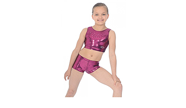 The Zone Chic Shiny Nylon Lycra Gymnastics Crop Top with Crystals 34 Kingfisher