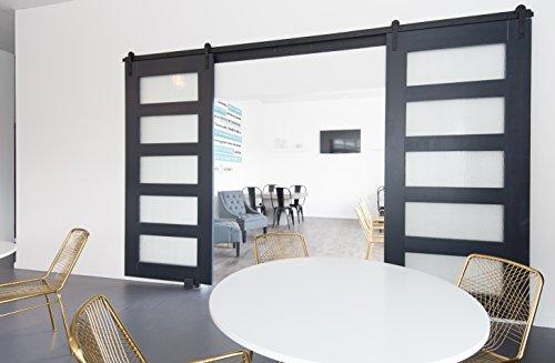 5 Panel Glass Design Sliding Barn Door