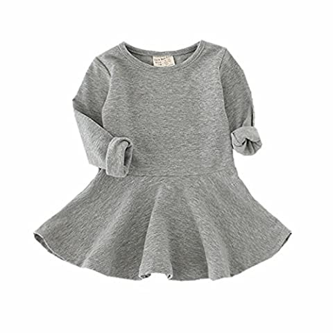 Infant Toddler Baby Girls Dress Pink Ruffle Long Sleeves Cotton (2-3Year(3T), Gray) - Apparel