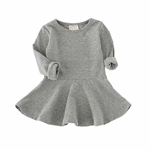 Infant Toddler Baby Girls Dress Pink Ruffle Long Sleeves Cotton (2-3Year(3T), Gray)