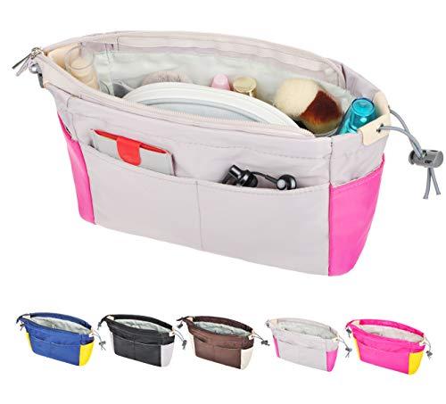 Vercord Color-Blocking Nylon Handbag Organizer Insert Purse Liner Tote Bag Inside Divider Light Grey