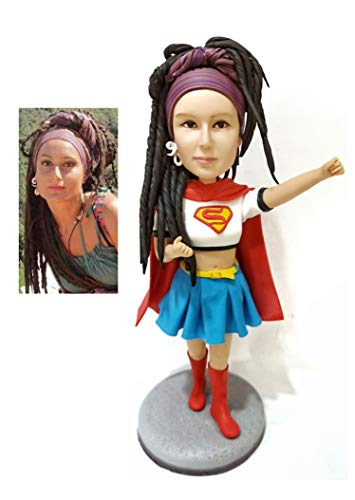 Custom Made Superhero Bobblehead Figurine Personalized Supergirl Bobblehead Doll Superwoman Birthday Gifts from Head to Toe Based on Your Photos, One person, DHL Expedited Shipping Service