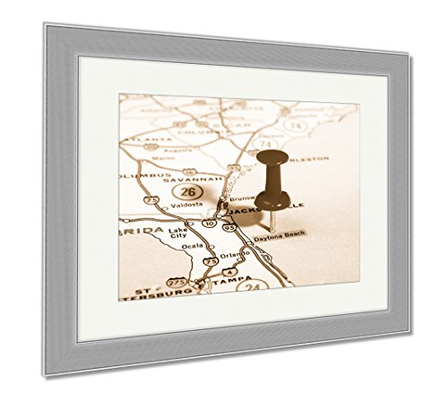 Ashley Framed Prints Daytona Beach Florida USA Map, Contemporary Decoration, Sepia, 26x30 (frame size), Silver Frame, - Daytona Places In Beach Shop To