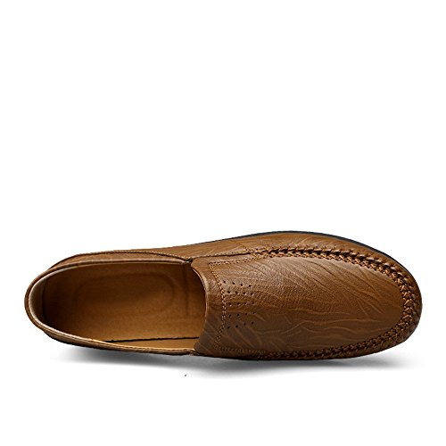 Zapatos Barco Suave Zapatos Piel de para 2018 Caqui con 5 Hombre para Brown Hollow auténtica Shufang Zapatos 38 Suela Reddish Ligeros 1rq61