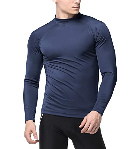 (LAPASA Swimwear - Men's Long Sleeve Rash Guard, UPF50+ Solar Protection (98% Anti-UV, for Swimmers) M43 (Navy (Without Logo), US Size: S/EU Size: M))