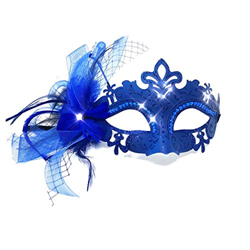 (Storm Buy ] Lady/Women/Girls Costume Venetian Mask Feather Masquerade Mask Halloween Mardi Gras Cosplay Party Ball Prom Masque)