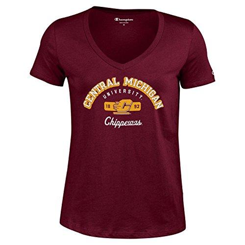 (Champion NCAA Women's University Short Sleeve Tagless V-Neck Tee Central Michigan Chippewas Medium)