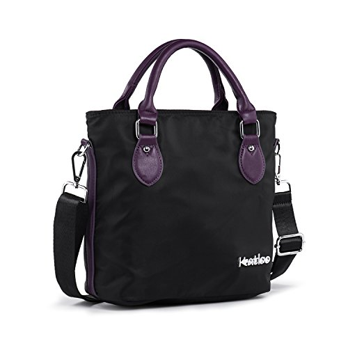 Top Handle Bag Small Nylon Handbags for Women Crossbody Tote Bags Handbag Purses Lightweight Water Resistant Katloo (Black)