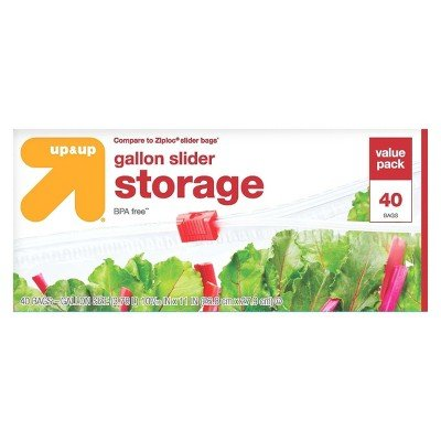 Gallon 40k (Slider Gallon Storage Bags - 40ct - up&Up153; (Compare to Ziploc174; Slider Bags) Clear)