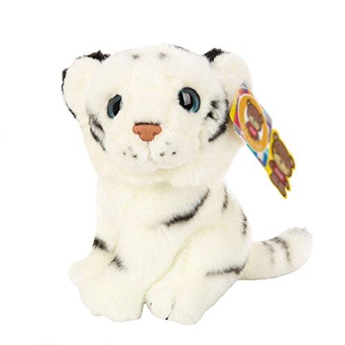 20cm Cute Emulation Tiger Plush Toy Soft Stuffed Animal Doll Xmas Christmas Birthday Valentine Gift (White)
